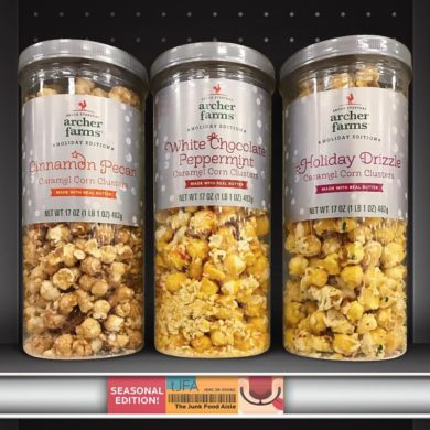 Archer Farms Cinnamon Pecan, White Chocolate Peppermint & Holiday Drizzle Caramel Corn Clusters