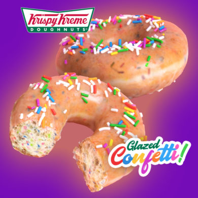 Krispy Kreme Celebrates Birthday with Glazed Confetti Doughnut